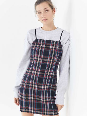 שמלת מיני משבצות UO