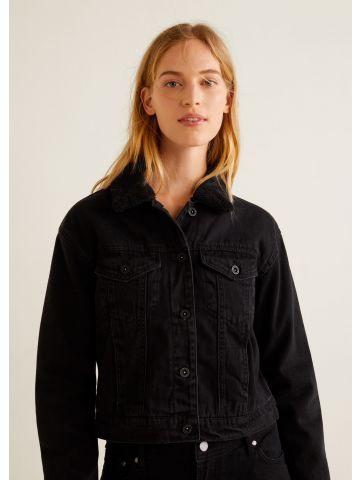 ג'קט ג'ינס עם בטנה דמוית צמר בצווארון