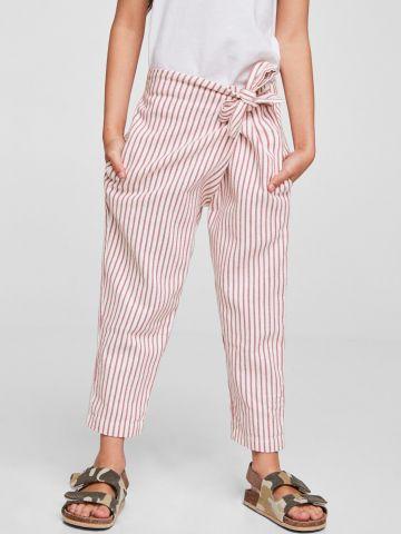 מכנסיים בהדפס פסים עם חגורת קשירה בצד / בנות