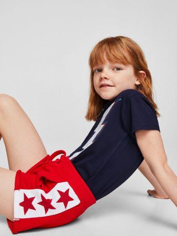 מכנסי טרנינג קצרים עם פאנל כוכבים בצדדים / בנות