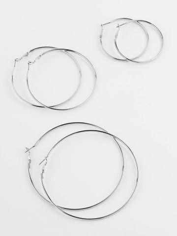 מארז 3 זוגות עגילי חישוק בצבע כסף