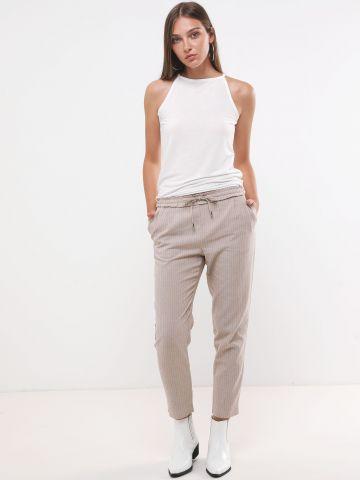 מכנסיים ארוכים עם רקמת פסים