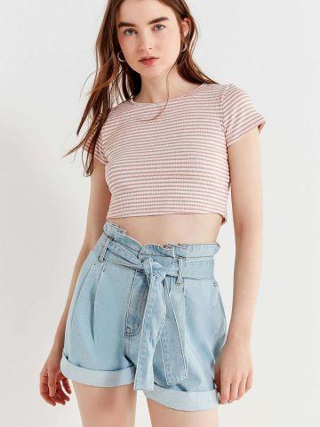 מכנסי ג'ינס קצרים פייפרבאג עם חגורת קשירה BDG