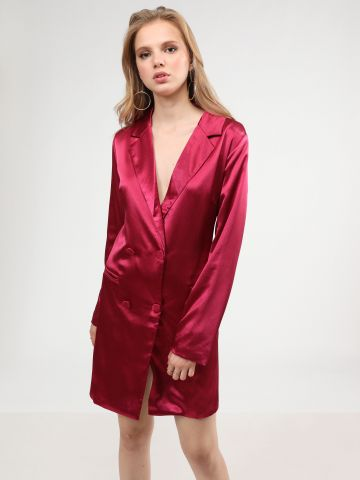 שמלת בלייזר מיני סאטן