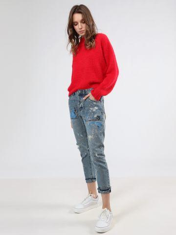 ג'ינס בויפרינד בעיטור כתמי צבע