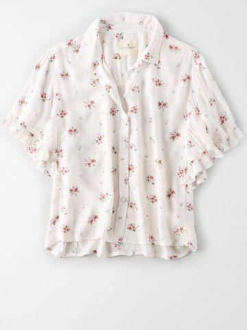 חולצה מכופתרת בהדפס פרחים עם שרוולי מלמלה / נשים