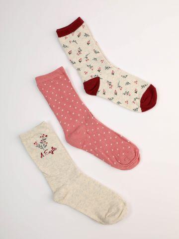 מארז 3 זוגות גרביים עד הקרסול בהדפסים שונים / בנות