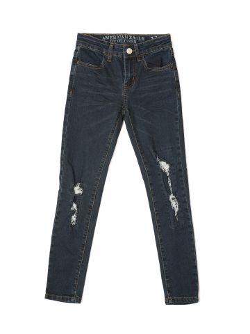 ג'ינס סקיני סטרצ' בשטיפה כהה עם קרעים / בנות