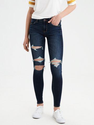 ג'ינס סקיני סטרצ' בשטיפה כהה עם קרעים Jegging