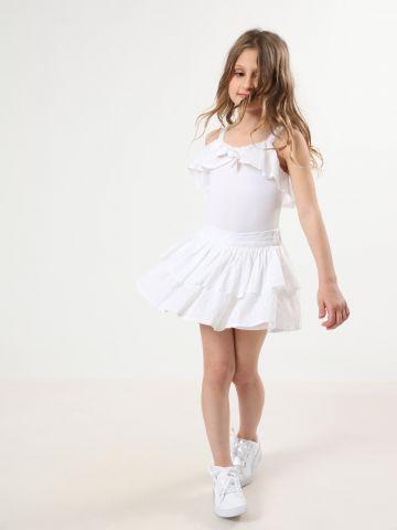 חצאית שכבות עם רקמת פרחים / בנות