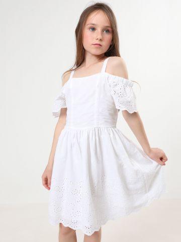 שמלת קולד שולדרס עם רקמת פרחים