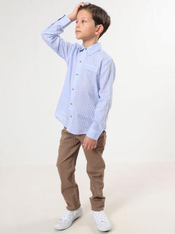 חולצה מכופתרת בהדפס פסים / בנים