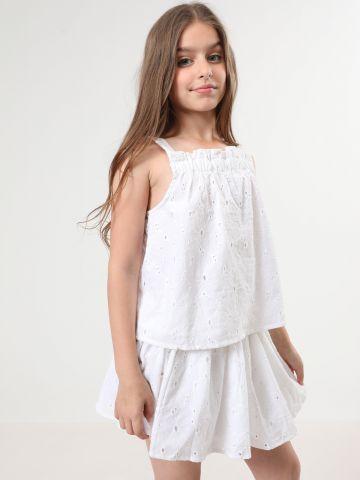 חצאית עם רקמת פרחים ועיטורי גדילים / בנות