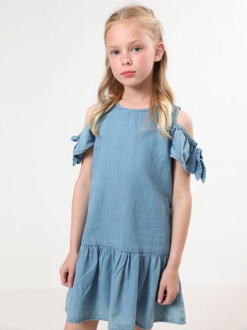 שמלת ג'ינס קולד שולדרס עם סיומת פפלום