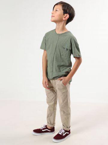 חולצת טי שירט עם כיס בחזית וקו תפר דקורטיבי / בנים של TERMINAL X KIDS