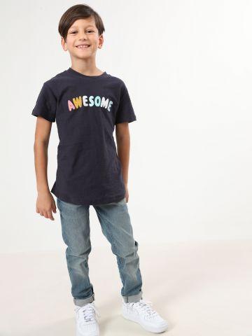 חולצת טי שירט עם הדפס Awesome / בנים