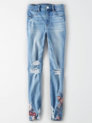 ג'ינס קרעים בשילוב רקמת פרחים High rise jegging