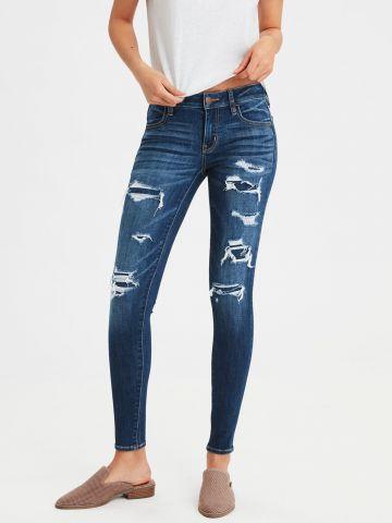 ג'ינס סקיני סטרץ' בשילוב קרעים JEGGING של AMERICAN EAGLE