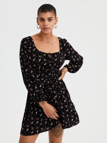 שמלה פרחונית עם כיווצי גומי