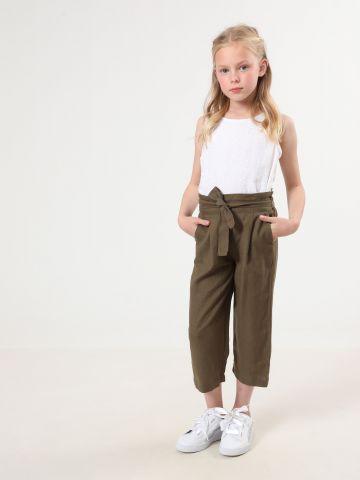 מכנסי פייפרבאג פשתן 7/8 עם חגורת קשירה של TERMINAL X KIDS