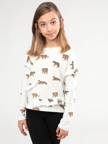 חולצה בהדפס נמרים עם עיטורי מלמלה
