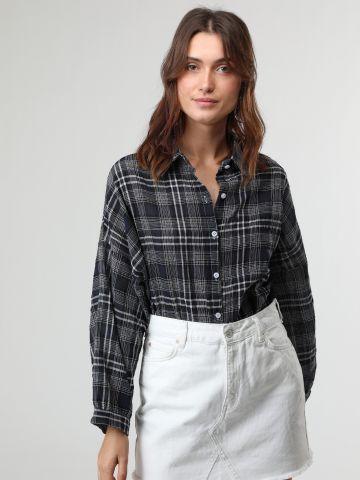 חולצת משבצות מכופתרת אוברסייז