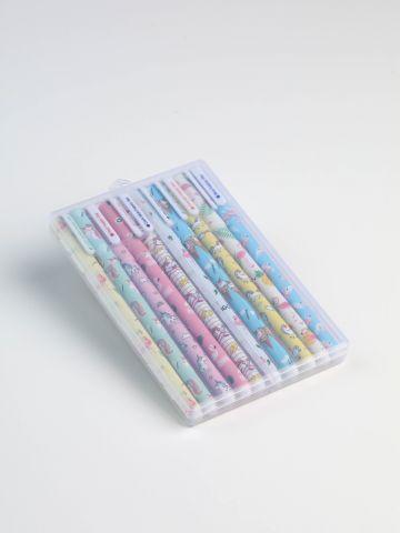 מארז 10 עטים צבעוניים בהדפס פלמינגוס וחדי-קרן