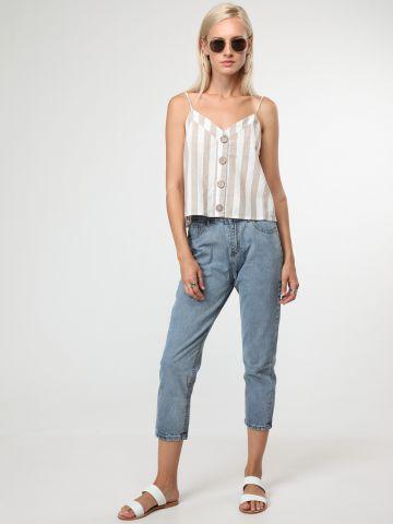 ג'ינס קרופ בגזרה ישרה עם גומי מאחור