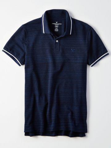 חולצת פולו ווש לוגו עם פסים בשוליים / גברים