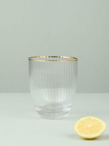 מארז 4 כוסות מזכוכית פליסה לשתייה קרה עם שפה מוזהבת
