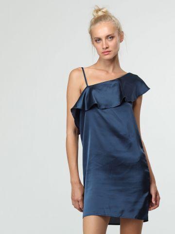 שמלת סאטן מיני אסימטרית
