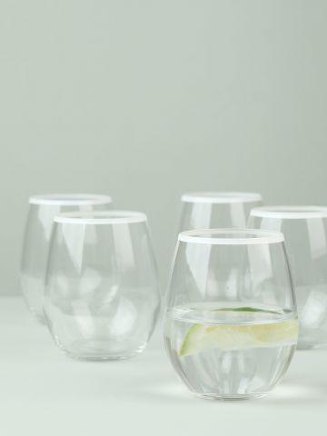 מארז 6 כוסות זכוכית לשתייה קרה עם שפה לבנה Aura