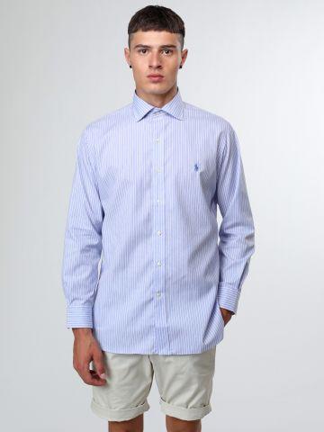 חולצה מכופתרת פסים עם רקמת לוגו Classic Fit