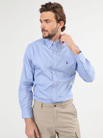 חולצה מכופתרת משבצות עם רקמת לוגו Easy Care