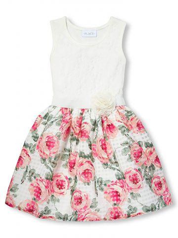 שמלת מידי תחרה והדפס פרחים/ בנות