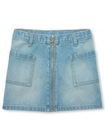 חצאית ג'ינס עם רוכסן בחזית/ בנות