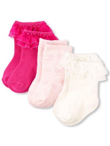 מארז 3 זוגות גרביים עם עיטורי מלמלה / בייבי בנות