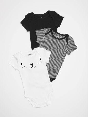 מארז 3 בגדי גוף עם שרוולים קצרים / בייבי