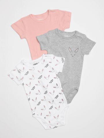 מארז 3 בגדי גוף עם שרוולים קצרים / בייבי בנות