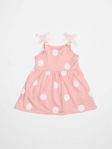 שמלה בהדפס נקודות עם כתפיות פפיון / בייבי בנות