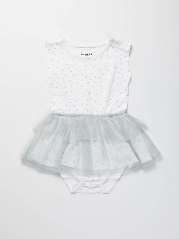 בגד גוף בהדפס כוכבים עם חצאית טול