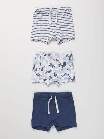 מארז 3 מכנסיים קצרים בהדפסים / בייבי בנים