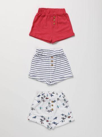 מארז 3 מכנסיים קצרים בהדפסים / בייבי בנות