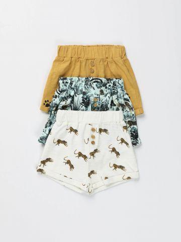 מארז 3 מכנסיים קצרים עם הדפסי ג'ונגל שונים/ בייבי בנים