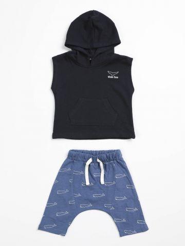 סט גופיית קפוצ'ון ומכנסיים Whale Done / N.B-3Y