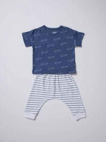 סט מכנסיים וטי שירט לווייתנים / בייבי בנים