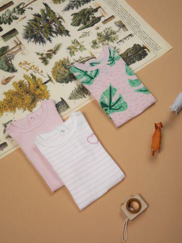 מארז 3 בגדי גוף עם הדפסים ורקמה / בייבי בנות