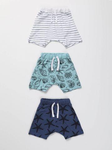 מארז 3 מכנסיים קצרים בהדפסי ים / בייבי בנים