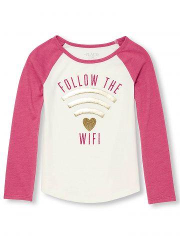 טי שירט שרוולים ארוכים Follow The Wifi גליטר / בנות