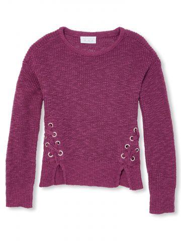 סוודר עם שרוכים איקסים ופתחים בחזית / בנות
